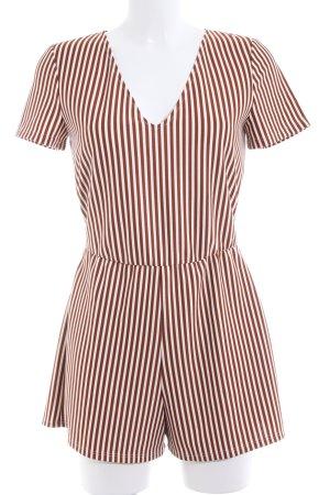 Zara Trafaluc Combinaison blanc-brun motif rayé style décontracté