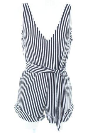 Zara Trafaluc Jumpsuit weiß-dunkelblau Streifenmuster Beach-Look