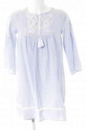 Zara Trafaluc Caftan white-azure striped pattern casual look