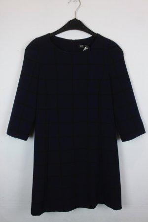 Zara Trafaluc Kleid Gr. XS Strech dunkelblau schwarz kariert 3/4 Arm (18/2/600)