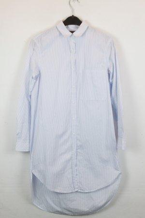 Zara Trafaluc Kleid Hemdblusenkleid Gr. XS oversized weiß blau Nadelstreifen (18/2/601)