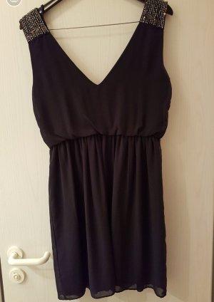 Zara Trafaluc Kleid in Dunkelblau, Schulterpartie mit Pailletten bestickt (42)