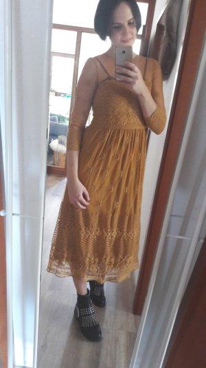 Zara Trafaluc Kleid Spitzenkleid Ocker Senf Mustard Löwengelb Spitze Lace Midi S