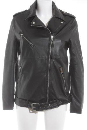 Zara Trafaluc Faux Leather Jacket black biker look