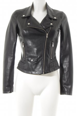 Zara Trafaluc Kunstlederjacke schwarz klassischer Stil