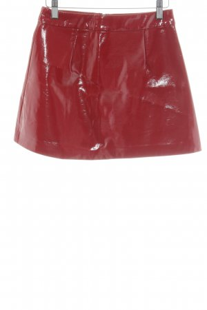 Zara Trafaluc Kunstlederrock rot extravaganter Stil