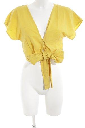 Zara Trafaluc Kurzarm-Bluse blassgelb Elegant