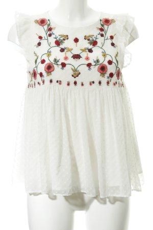 Zara Trafaluc Kurzarm-Bluse florales Muster Romantik-Look