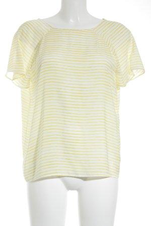 Zara Trafaluc Kurzarm-Bluse gelb-weiß Streifenmuster Retro-Look