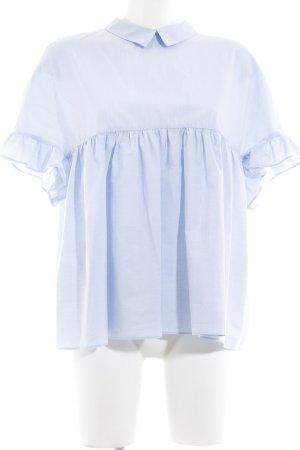 Zara Trafaluc Kurzarm-Bluse himmelblau schlichter Stil