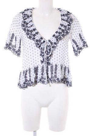 Zara Trafaluc Kurzarm-Bluse weiß-dunkelblau Casual-Look