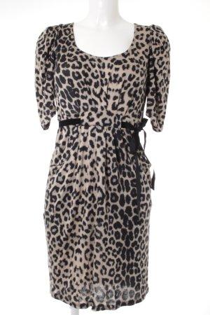Zara Trafaluc Kurzarmkleid schwarz-beige Leomuster Elegant