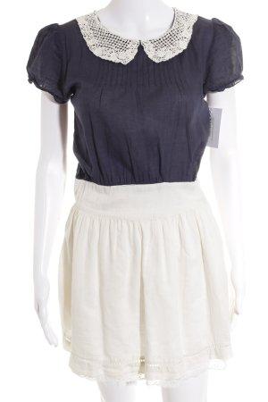 Zara Trafaluc Kurzarmkleid weiß-blau 60ies-Stil