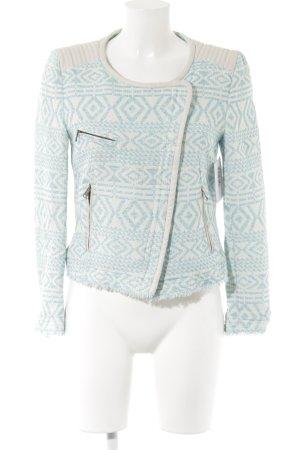 Zara Trafaluc Kurzjacke weiß-türkis abstraktes Muster 70ies-Stil