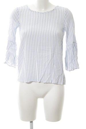 Zara Trafaluc Langarm-Bluse weiß-blau Streifenmuster Casual-Look