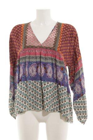 Zara Trafaluc Langarm-Bluse abstraktes Muster extravaganter Stil