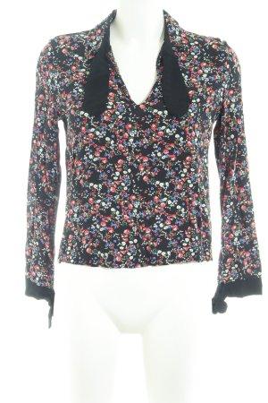 Zara Trafaluc Langarm-Bluse Blumenmuster Schleifen-Detail