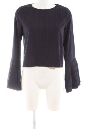 Zara Trafaluc Langarm-Bluse dunkelblau-dunkelrot Nadelstreifen Business-Look