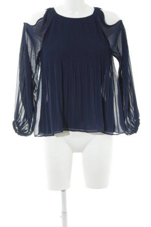 Zara Trafaluc Langarm-Bluse dunkelblau Elegant
