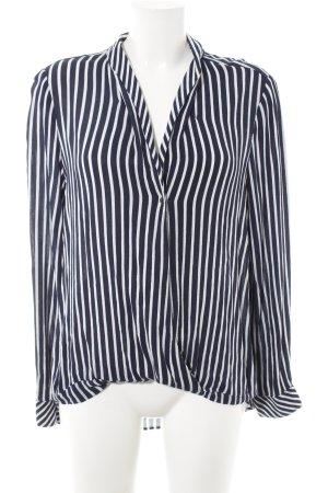 Zara Trafaluc Langarm-Bluse dunkelblau-weiß Streifenmuster Marine-Look