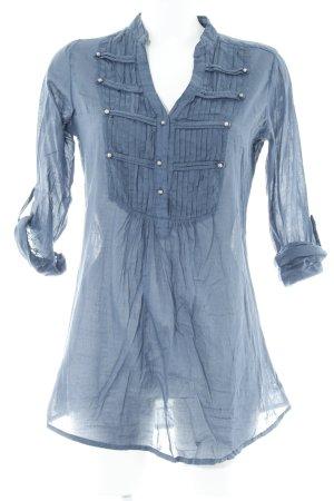 Zara Trafaluc Langarm-Bluse stahlblau schlichter Stil