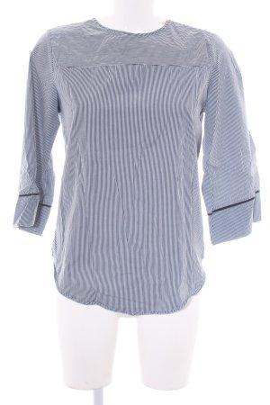 Zara Trafaluc Langarm-Bluse weiß-dunkelblau Motivdruck Segel-Look