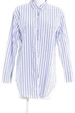 Zara Trafaluc Camisa de manga larga blanco-azul celeste estampado a rayas