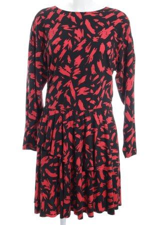 Zara Trafaluc Langarmkleid schwarz-rot abstraktes Muster Beach-Look