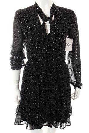 Zara Trafaluc Langarmkleid schwarz-weiß Punktemuster Romantik-Look