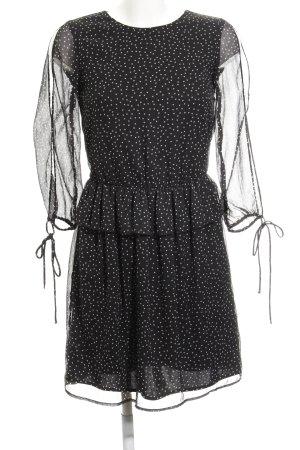 Zara Trafaluc Langarmkleid schwarz-weiß Sternenmuster Elegant