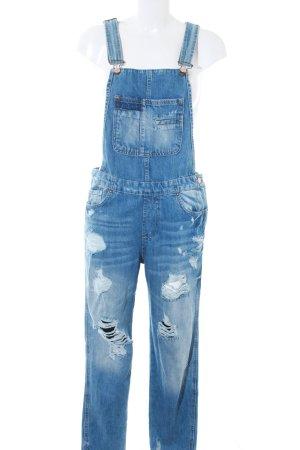 Zara Trafaluc Bib Denim steel blue-azure distressed style