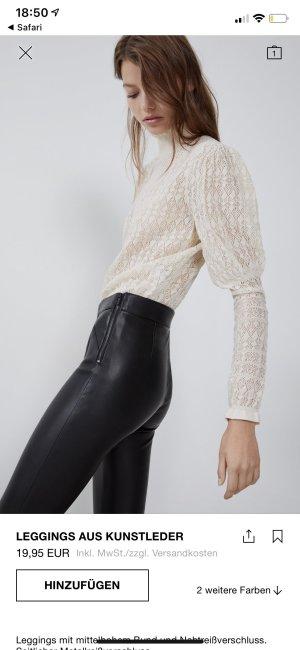 Zara Trafaluc Pantalón de cuero negro Imitación de cuero