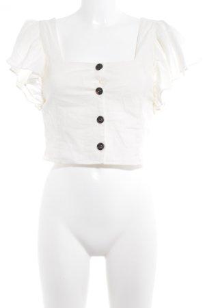 Zara Trafaluc Blusa de lino blanco puro estilo romántico