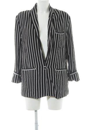 Zara Trafaluc Long-Blazer schwarz-weiß Streifenmuster Business-Look