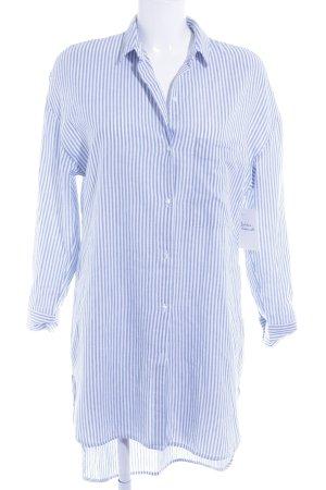 Zara Trafaluc Long-Bluse weiß-kornblumenblau Streifenmuster Casual-Look