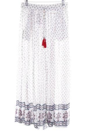 Zara Trafaluc Falda larga beige claro-carmín estampado con diseño abstracto a4e62946a175