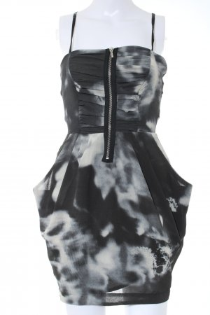 Zara Trafaluc Minikleid schwarz-hellgrau abstraktes Muster Elegant