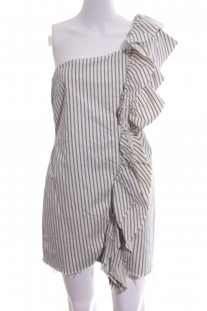 Zara Trafaluc One Shoulder Dress natural white-blue striped pattern elegant