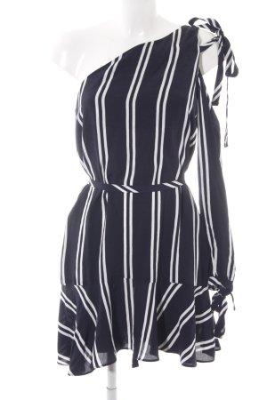 Zara Trafaluc One Shoulder Dress dark blue-white striped pattern elegant