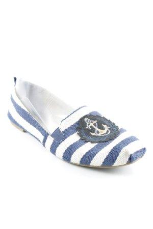 Zara Trafaluc Peeptoe Ballerinas hellbeige-blau Allover-Druck Marine-Look