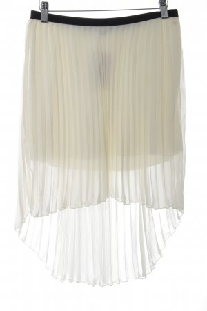 Zara Trafaluc Pleated Skirt pale yellow-black romantic style