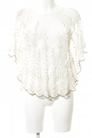 Zara Trafaluc Poncho blanco puro-color oro look casual