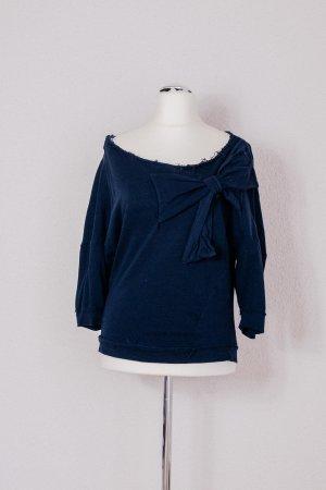 Zara Trafaluc Pulli Sweater Pullover Schleife blau dunkelblau Gr. M 36 38 40