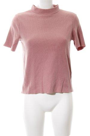 Zara Trafaluc Camisa acanalada color rosa dorado look casual