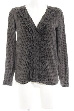 Zara Trafaluc Camicetta con arricciature nero motivo floreale
