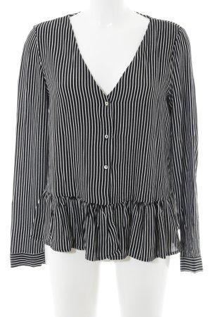 Zara Trafaluc Rüschen-Bluse schwarz-weiß Streifenmuster Casual-Look