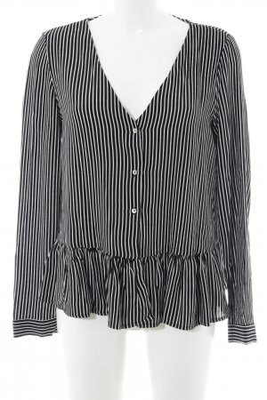 Zara Trafaluc Ruffled Blouse black-white striped pattern casual look