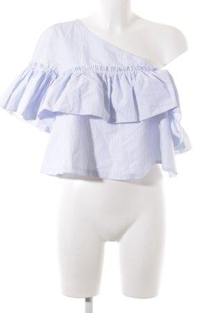 Zara Trafaluc Rüschen-Bluse weiß-himmelblau Streifenmuster Elegant