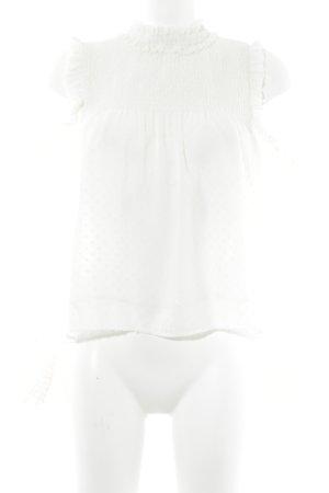 Zara Trafaluc Rüschen-Bluse wollweiß abstraktes Muster Elegant