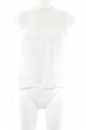 Zara Trafaluc Ruffled Blouse natural white abstract pattern elegant